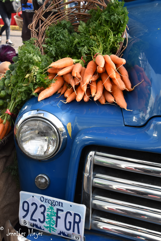 Carrots on a truck.