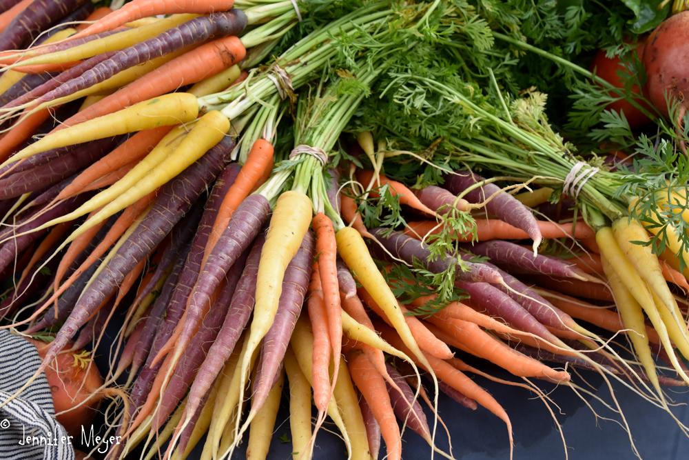 Multi-colored carrots.