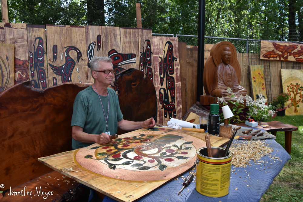 This guy carves fence panels and makes outdoor furniture and art.
