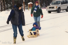 Going sledding in the mountains.