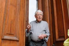 Wener demonstrates the storm doors.