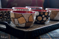 Bowls decorated with duck eggshells. C&M brought these back from Vietnam recently.