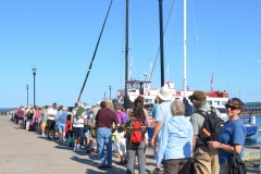 Standing in line for our boat tour.