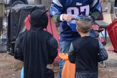 At 4:00, the trick-or-treating began.