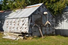 Oddly decorated fishing shack.