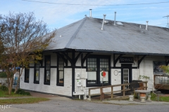 The old train station is now a coffee shop.