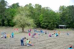 Field of school kids.