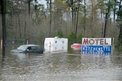 Flooded motel.