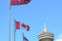 Flags and tower.