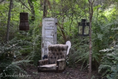 This hanging winged chair in the forest was a little creepy.