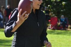 Kate Clinton runs with the ball.