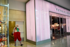 Santa's entrance is oddly next to Victoria's Secret.