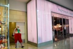 Santa's entrance is oddly next to Victoria's Secret.