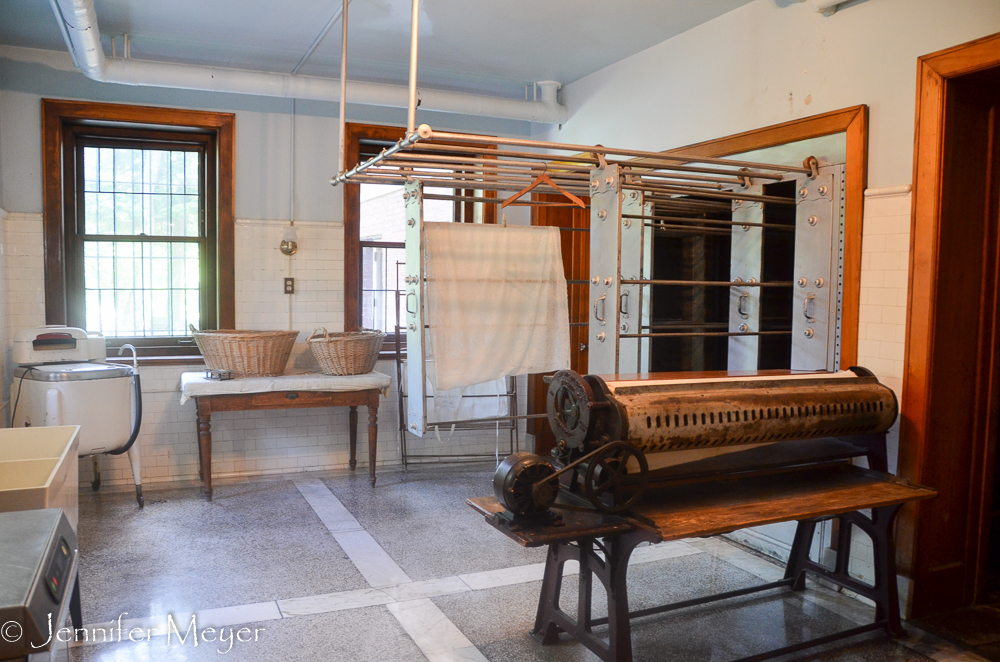 Kate was most impressed with the laundry room, which not only had a large sheet press...