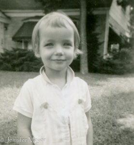 Childhood pixie cut.