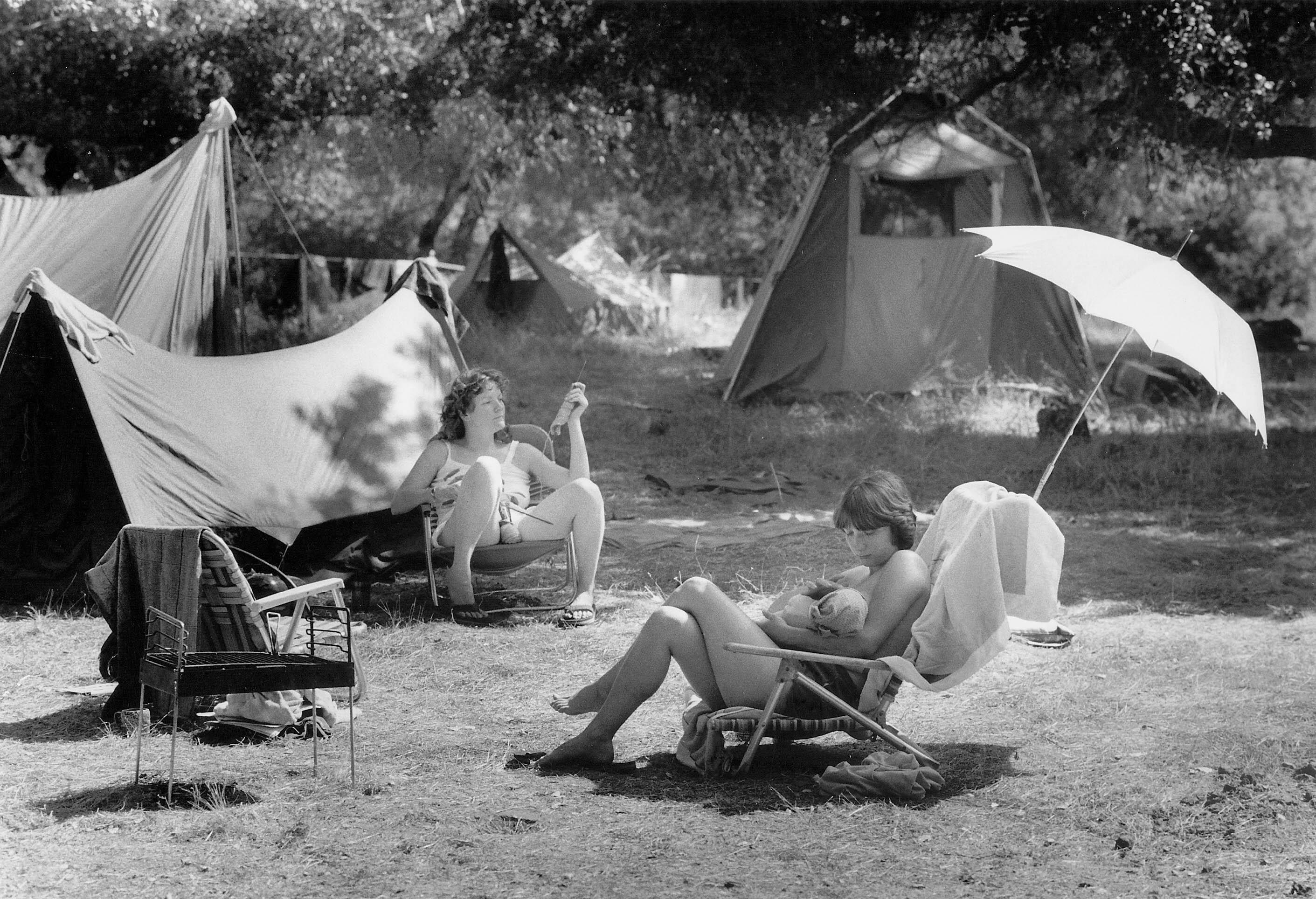 Lesbians camping