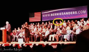 On stage with Bernie.